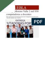 13-12-2013 Milenio.com - Entrega Moreno Valle 2 Mil 930 Computadoras a Docentes