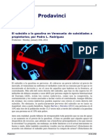 El Subsidio a La Gasolina en Venezuela de Subsidiados a Propietarios Por Pedro l Rodriguez