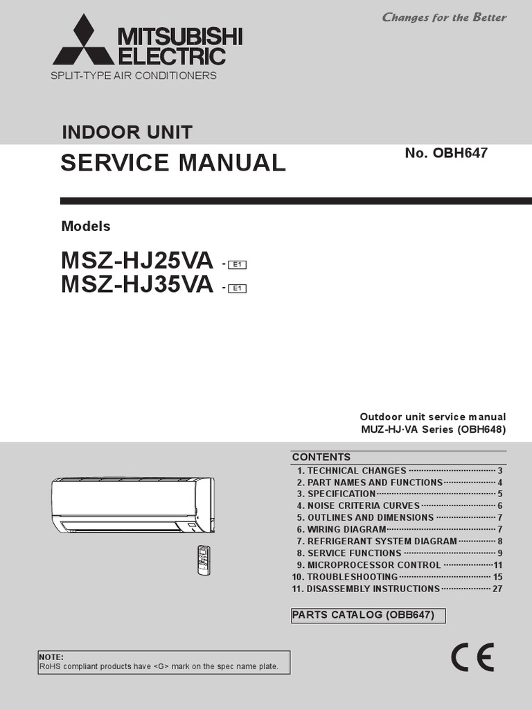 Mitsubishi Msz Hj35va Electromagnetic Interference Power Supply Parts Catalog Diagrams