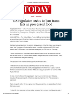 US Regulator Seeks to Ban Trans Fats in Processed Food