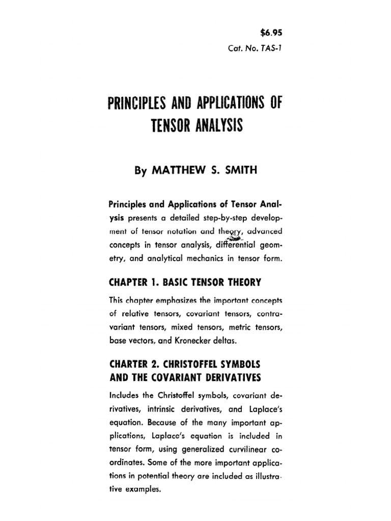 Principles and Applications of Tensor Analysis - M  Smith