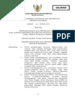 Peratiran Menteri No 21 Tahun 2013 Tentang Penyelenggaraan Jasa Penyediaan Konten Pada Jaringan Bergerak Seluler Dan Jaringan Tetap Lokal Tanpa Kabel DFengan Mobilitas Terbatas
