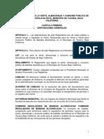 Reglamento Para La Venta Almacenaje y Consumo Publico de Bebidas Alcoholicas