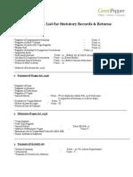 Statutory Compliance Checklist.