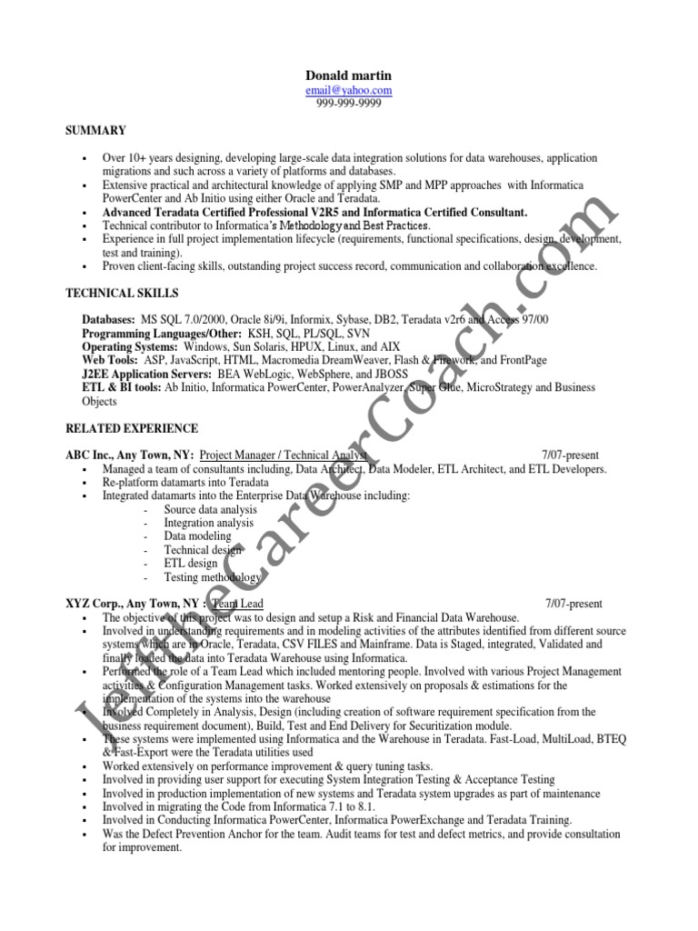 teradata sample resume 2 microsoft excel oracle database - Teradata Dba Resume