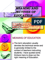 The Meaning and Objectives of Education