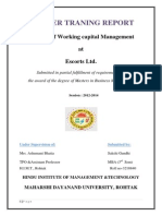 Working Capital Management of Escort