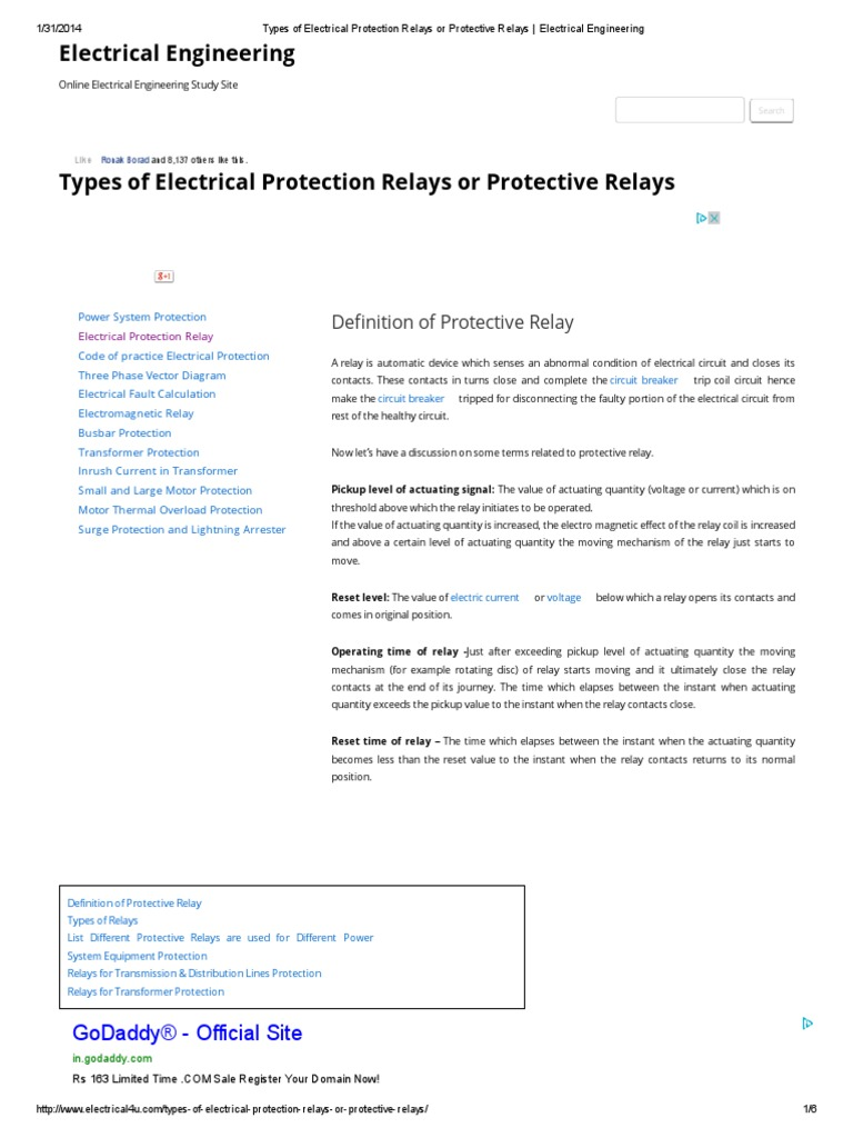 Types of Electrical Protection Relays or Protective Relays _ ...