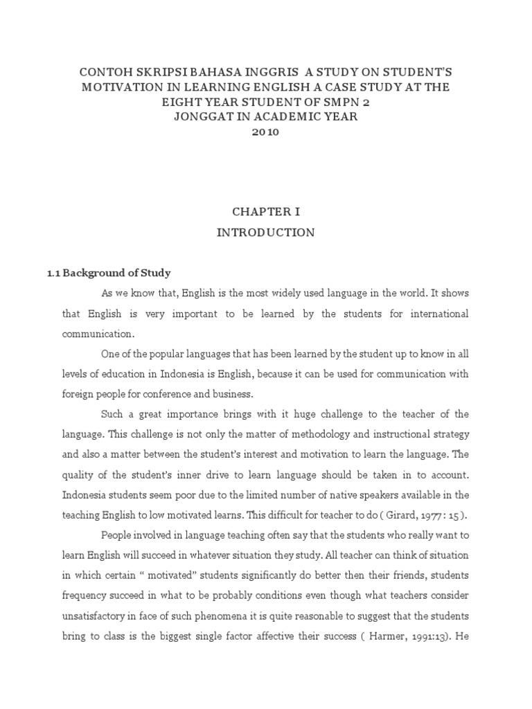 Contoh Skripsi Bahasa Inggris Case Study Attitude Psychology
