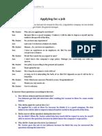 Ficha 3 'Applying For A Job' (Soluções)
