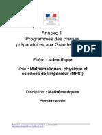 Programme MPSI