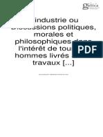 l'Industrie Saint Simon Tomo I
