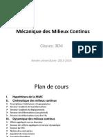 Hypothèses de la MMC + Cinématique des milieux continus