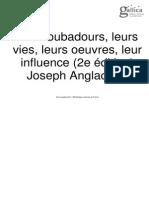 Anglade, J.(1919) Les Troubadours (2e Ed.)