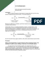 Prep of 2 Chloro 2 Methylpropane