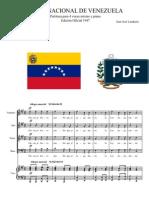Himno Nacional de Venezuela. Piano y Coro Mixto