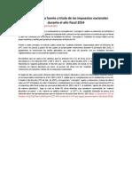 Retencion en La Fuente a Titulo de Impuestos Nacionales 2014