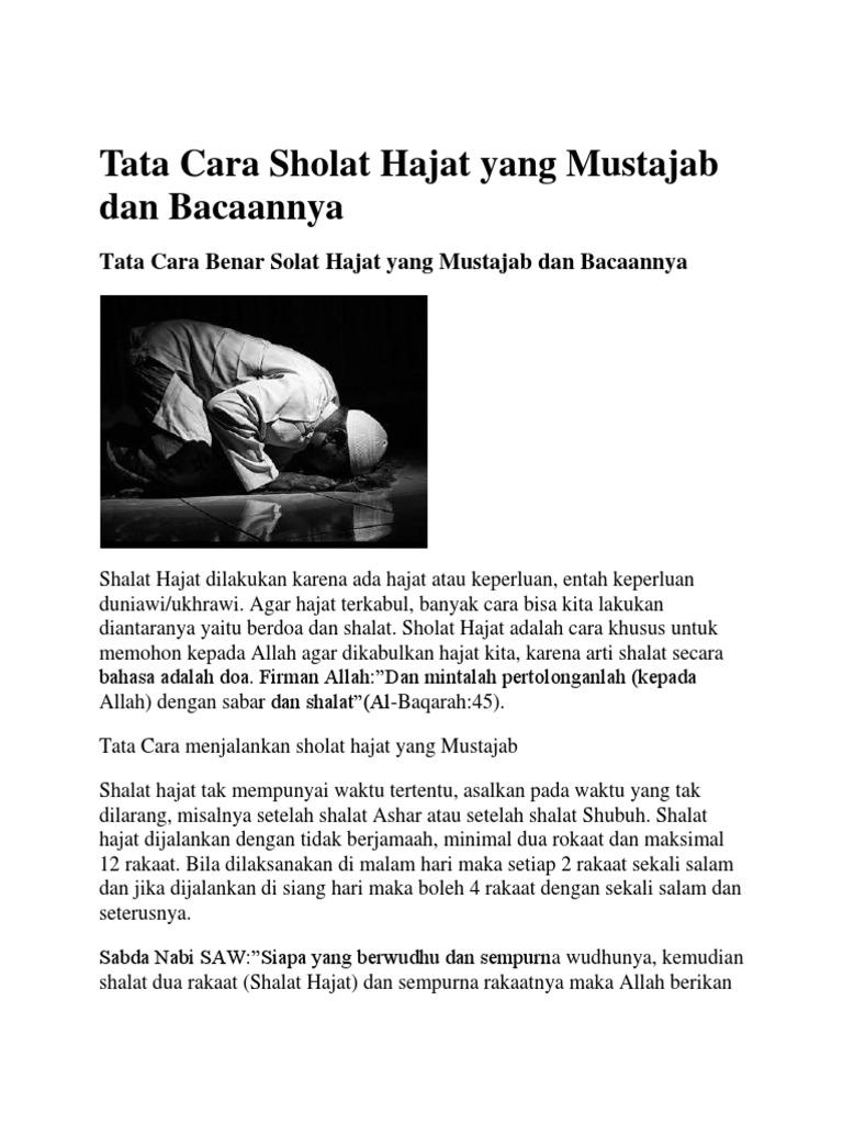 Doa Niat Sholat Tahajud Dan Hajat - Ngaji Bareng