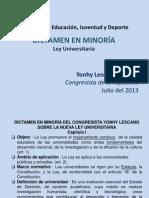 Dictamen en minoría de la nueva Ley Universitaria