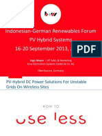 PV-Hybrid DC Power Solutions for Unstable Grids Wireless Sites Ingo Meyer b w Electronic Systems GmbH Co. KG