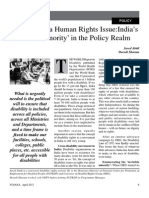 Disability as Human Right Policy Yojana April 2013