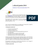 Planificarea Afacerii Pentru 2014