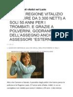 Nuova Pioggia Di Vitalizi Nel Lazio