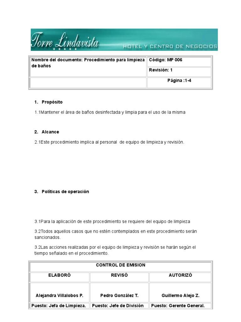 6 procedimiento limpieza de ba os for Manual de limpieza y desinfeccion en restaurantes