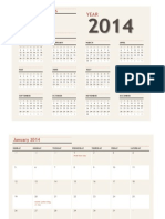 Any Year Calendar With Holidays 2014