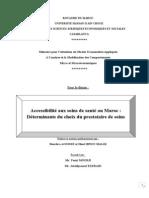 Accessibilite aux soins de sante au Maroc verrsion finale.doc