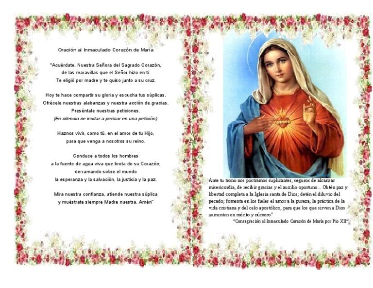 Oración al Inmaculado Corazón de María: (En silencio se invitar a pensar en  una petición)