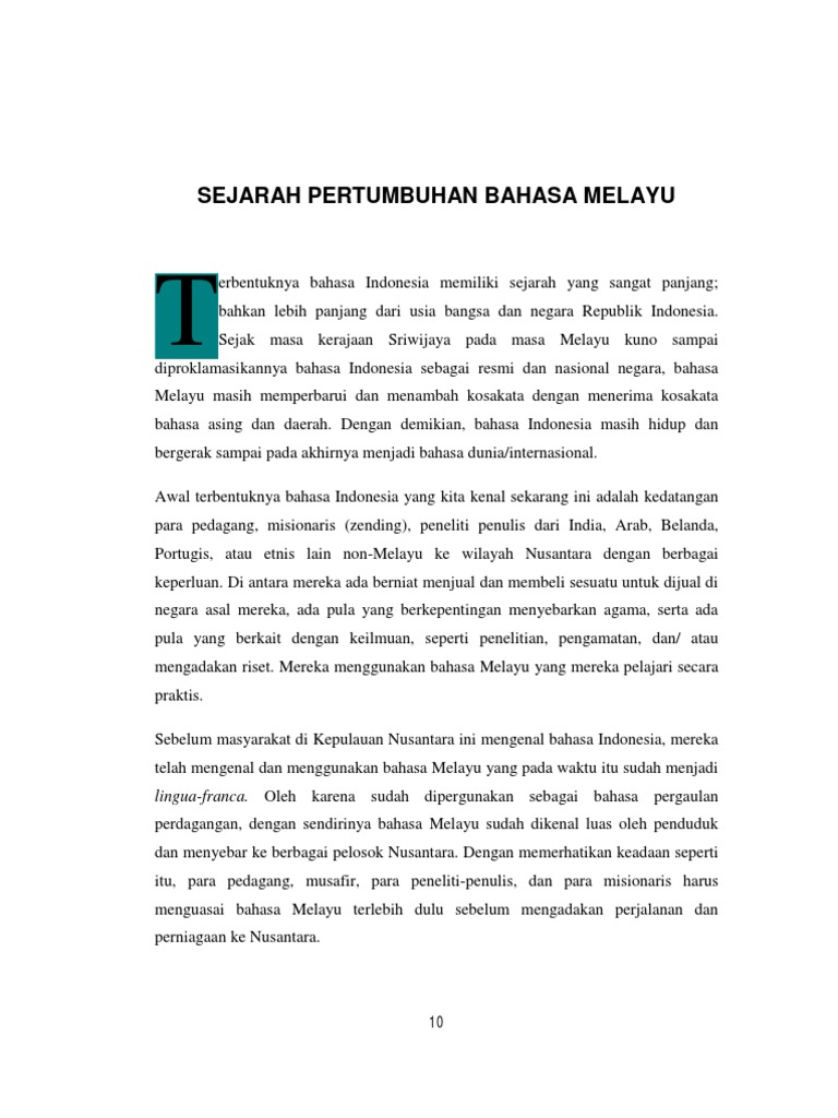 B Sejarah Pertumbuhan Bahasa Melayu