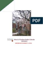 School of Graduate Studies Calendar 2012-2013 (Revised as of Augu
