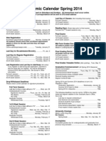 Academic Calendar Spring 2014