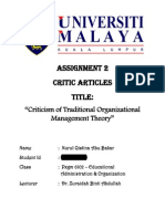 Assignment on Critc Article