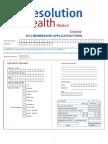 Resolution Health Medical Scheme 2014 Membership Application Form