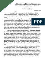 Full Gospel Lighthouse Church February 2014 Newsletter