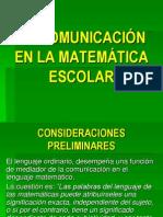 LA COMUNICACIÓN EN LA MATEMÁTICA ESCOLAR