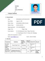 Resume of Mohammad Arif Mohiuddin
