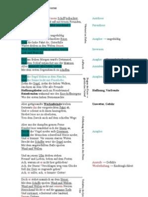 K12 Deutsch Mitschrift Gedichtbesprechung Seefahrt Von