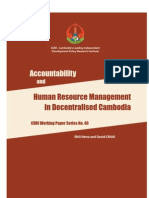 Accountability and Human Resource Management in Decentralised Cambodia