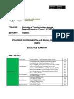 Nigeria - Agricultural Transformation Agenda Support Program – Phase 1 (ATASP-1) - Executive SESA Summary