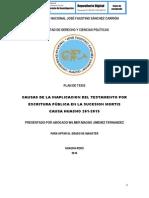 CAUSAS DE LA INAPLICACIÓN DEL TESTAMENTO POR ESCRITURA PÚBLICA EN LA SUCESIÓN MORTIS CAUSA HUACHO 2014-2015