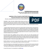 PRESS RELEASE - Legislators Call on Husted to Hold Public Review and Comment Period for Early Voting Directive - 1.30.14