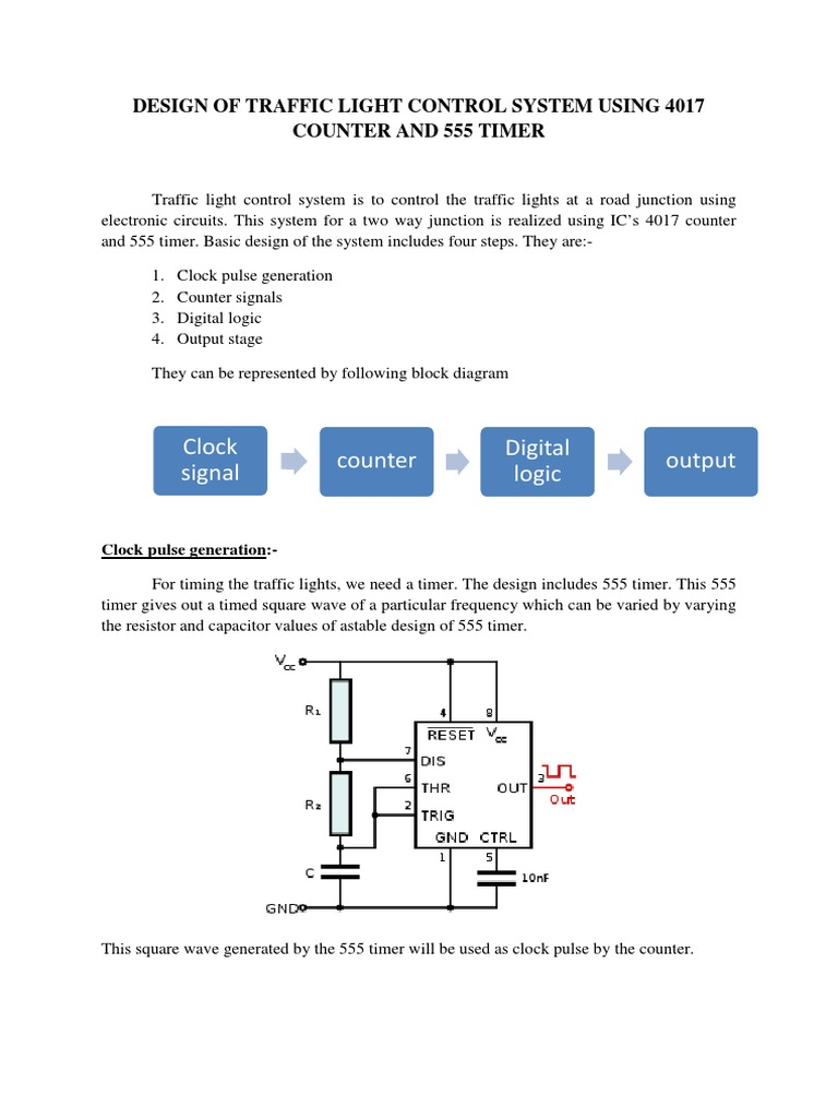 Traffic Light Control System Using 4017 Counter And 555 Timer Logic Diagram