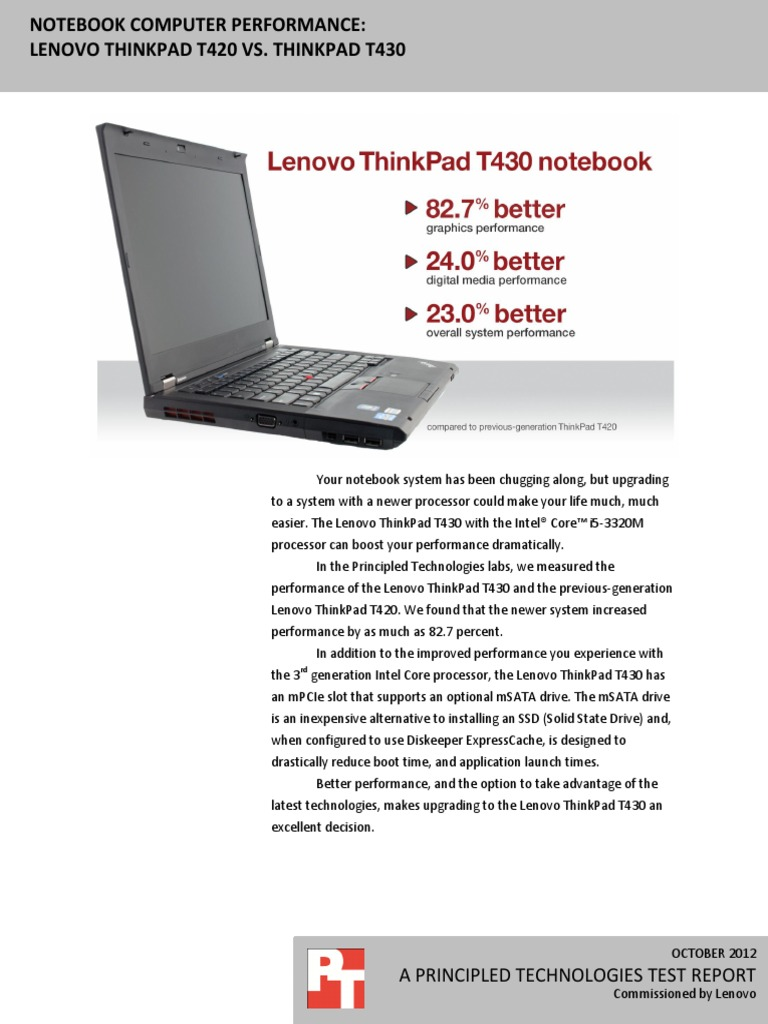 Notebook computer performance: Lenovo ThinkPad T420 vs  ThinkPad