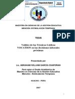 VALIDEZ DE LAS TÉCNICAS LÚDICAS VOCATION EN LAS DECISIONES LABORALES PRÓXIMAS