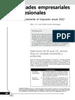 Actividades empresariales y profesionales. Calcule correctamente el impuesto anual 2012.pdf