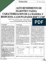 """Pastas de alto rendimiento de Pinus elliottii y Pinus taeda. Caracterización de la madera y respuesta a los pulpados RMP y CMP"""""""