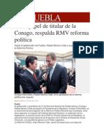 31-01-2014 Milenio.com - En su papel de titular de la Conago, respalda RMV reforma política